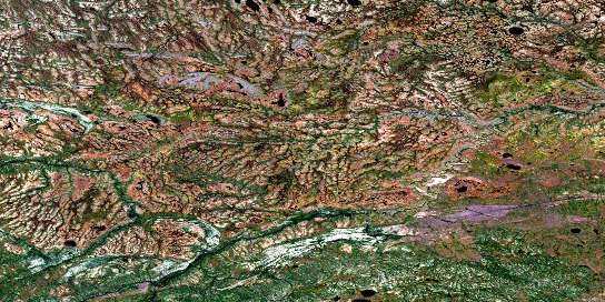 Kiln Creek Satellite Map 054B06 at 1:50,000 scale - National Topographic System of Canada (NTS) - Orthophoto