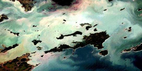 Kokookuhoo Island Satellite Map 063F08 at 1:50,000 scale - National Topographic System of Canada (NTS) - Orthophoto