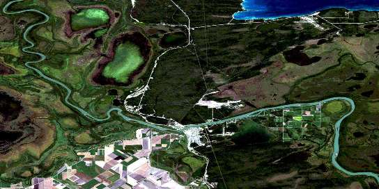 The Pas Satellite Map 063F14 at 1:50,000 scale - National Topographic System of Canada (NTS) - Orthophoto