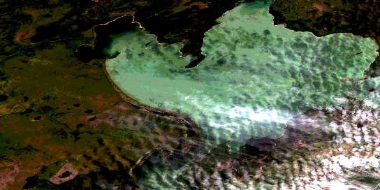Burntwood Bay Satellite Map 063K01 at 1:50,000 scale - National Topographic System of Canada (NTS) - Orthophoto