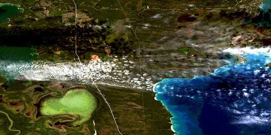 Root Lake Satellite Map 063K03 at 1:50,000 scale - National Topographic System of Canada (NTS) - Orthophoto