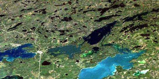 Cranberry Portage Satellite Map 063K11 at 1:50,000 scale - National Topographic System of Canada (NTS) - Orthophoto