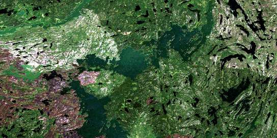 Manawan Lake Satellite Map 063M06 at 1:50,000 scale - National Topographic System of Canada (NTS) - Orthophoto