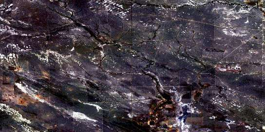 Cripple Creek Satellite Map 072E01 at 1:50,000 scale - National Topographic System of Canada (NTS) - Orthophoto