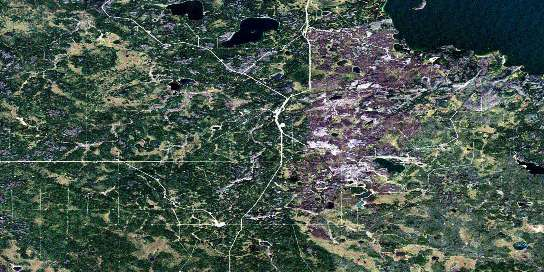 Kirby Lake Satellite Map 073M07 at 1:50,000 scale - National Topographic System of Canada (NTS) - Orthophoto