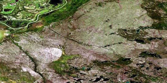 Keane Creek Satellite Map 074L07 at 1:50,000 scale - National Topographic System of Canada (NTS) - Orthophoto