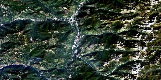 Salmo Satellite Map 082F03 at 1:50,000 scale - National Topographic System of Canada (NTS) - Orthophoto