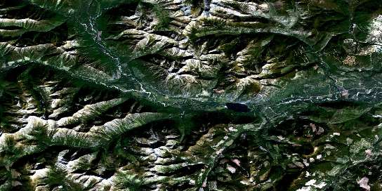 St Mary Lake Satellite Map 082F09 at 1:50,000 scale - National Topographic System of Canada (NTS) - Orthophoto
