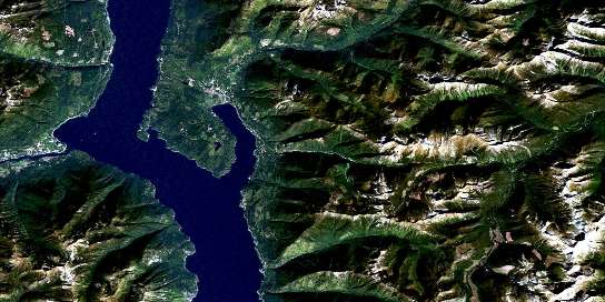 Crawford Bay Satellite Map 082F10 at 1:50,000 scale - National Topographic System of Canada (NTS) - Orthophoto