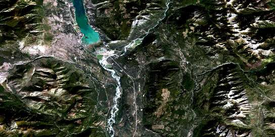 Canal Flats Satellite Map 082J04 at 1:50,000 scale - National Topographic System of Canada (NTS) - Orthophoto