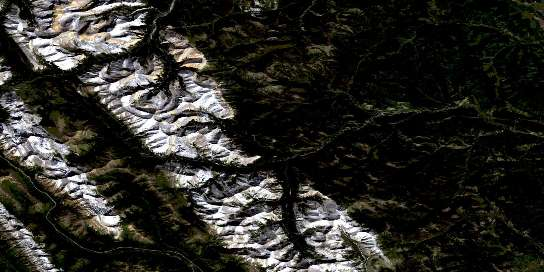 Mount Rae Satellite Map 082J10 at 1:50,000 scale - National Topographic System of Canada (NTS) - Orthophoto