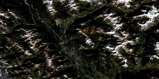 Tangle Peak Satellite Map 082J12 at 1:50,000 scale - National Topographic System of Canada (NTS) - Orthophoto