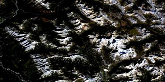 Mount Assiniboine Satellite Map 082J13 at 1:50,000 scale - National Topographic System of Canada (NTS) - Orthophoto