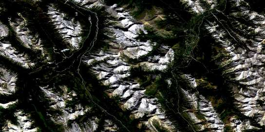Spray Lakes Reservoir Satellite Map 082J14 at 1:50,000 scale - National Topographic System of Canada (NTS) - Orthophoto