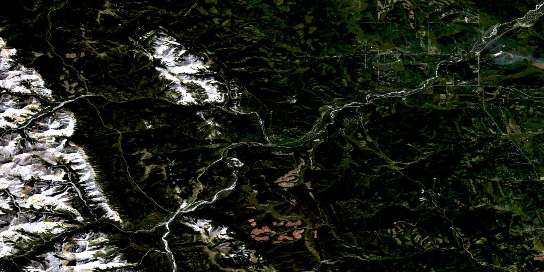 Bragg Creek Satellite Map 082J15 at 1:50,000 scale - National Topographic System of Canada (NTS) - Orthophoto