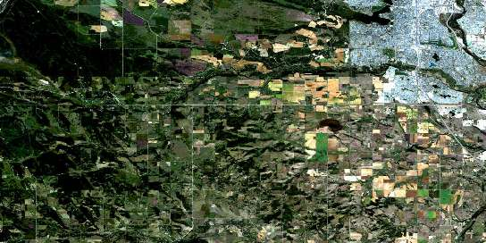 Priddis Satellite Map 082J16 at 1:50,000 scale - National Topographic System of Canada (NTS) - Orthophoto