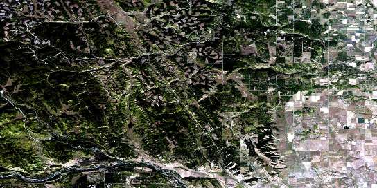 Wildcat Hills Satellite Map 082O07 at 1:50,000 scale - National Topographic System of Canada (NTS) - Orthophoto