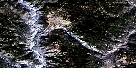 Pavilion Satellite Map 092I13 at 1:50,000 scale - National Topographic System of Canada (NTS) - Orthophoto