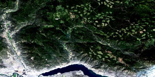 Tranquille River Satellite Map 092I15 at 1:50,000 scale - National Topographic System of Canada (NTS) - Orthophoto